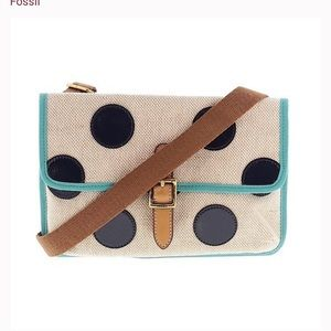 Fossil Canvas Fabric Crossbody Polkadot Purse